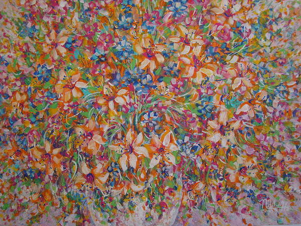 Flowers Poster featuring the painting Flower Galaxy by Natalie Holland