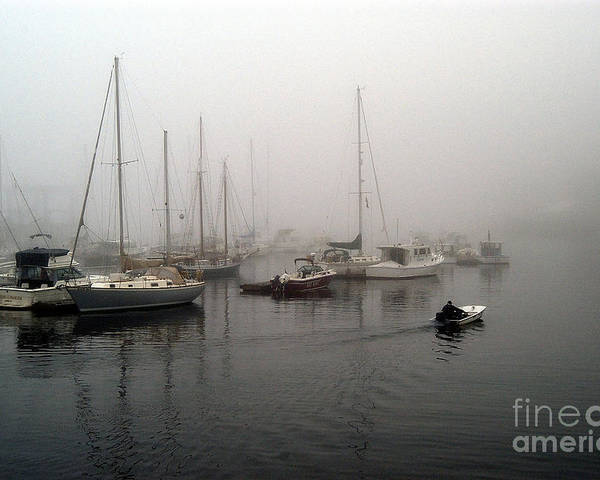 Ships Poster featuring the photograph Foggy Camden Harbor by Neil Doren