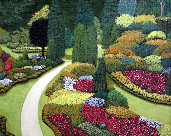 Landscape Poster featuring the painting Formal Gardens by Frederic Kohli