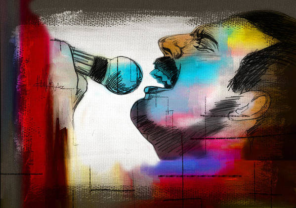 Freddie Mercury Poster featuring the painting Freddie Mercury by Mark Ashkenazi