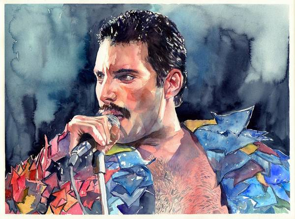 Freddie Poster featuring the painting Freddie Mercury portrait by Suzann Sines