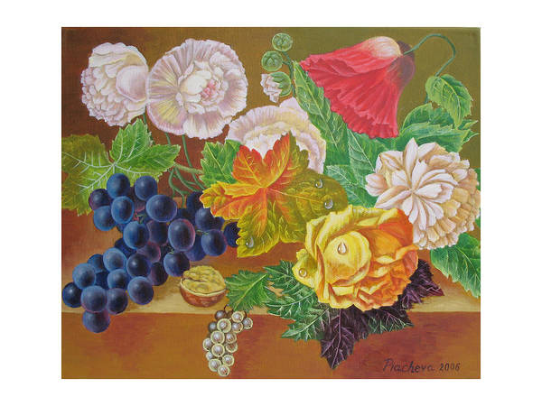 Still Life Poster featuring the painting Fruits And Flowers II. 2006 by Natalia Piacheva