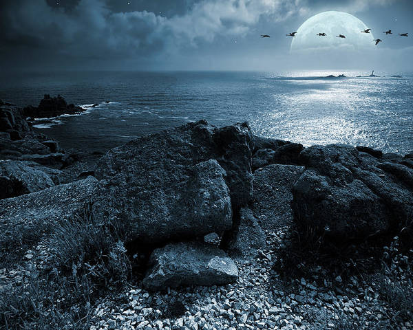 Beautiful Poster featuring the photograph Fullmoon Over The Ocean by Jaroslaw Grudzinski