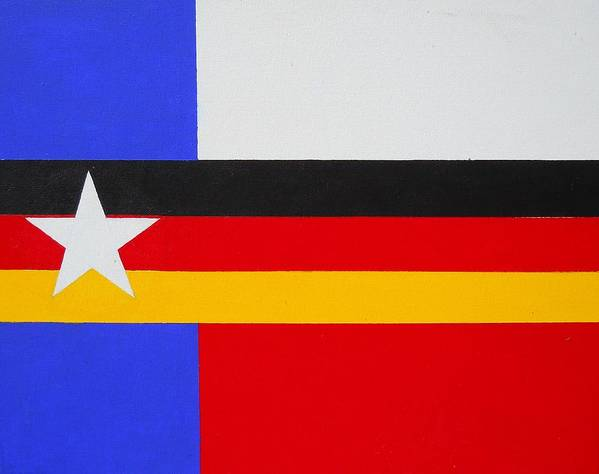 German Poster featuring the painting German-texan Flag by Damon White