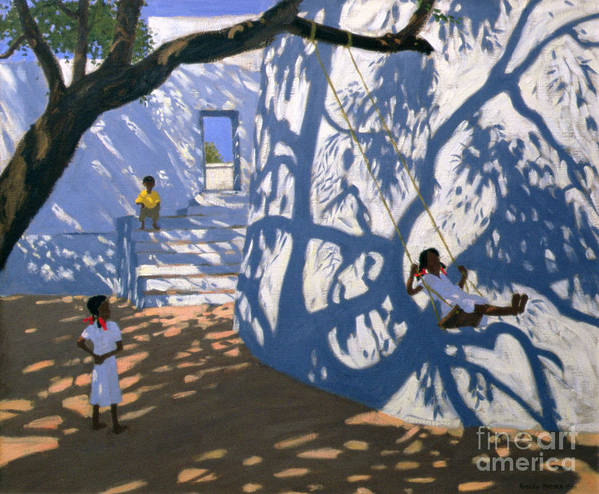 Child Poster featuring the painting Girl On A Swing India by Andrew Macara