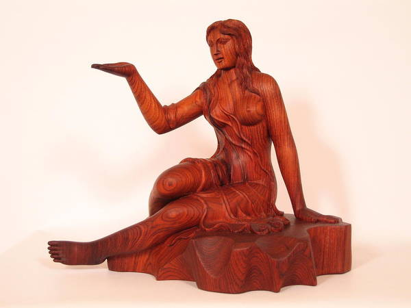 Sculpture Poster featuring the sculpture Girl by Thu Nguyen