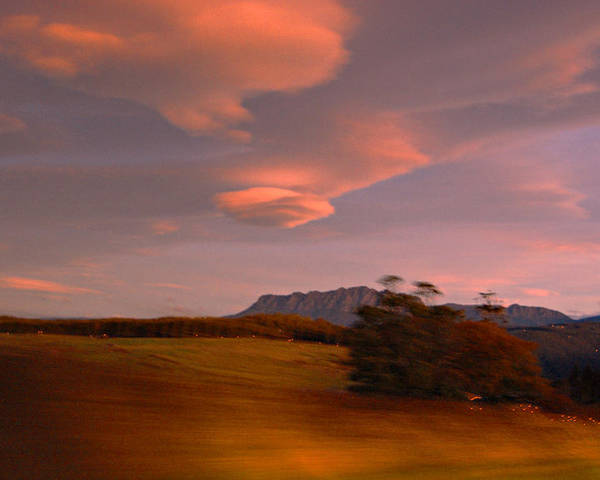 Evening Home Landscape Mount Mountain Photography Rowland Sunsets Tas Poster featuring the painting Going Home by Sarah King