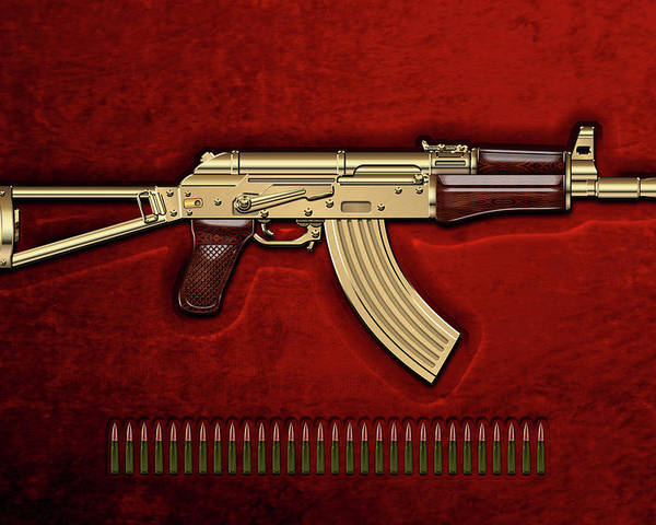 'the Armory' Collection By Serge Averbukh Poster featuring the photograph Gold A K S-74 U Assault Rifle with 5.45x39 Rounds over Red Velvet  by Serge Averbukh