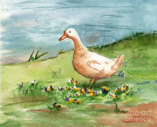 Goose Poster featuring the painting Golden Goose by Brenda Thour