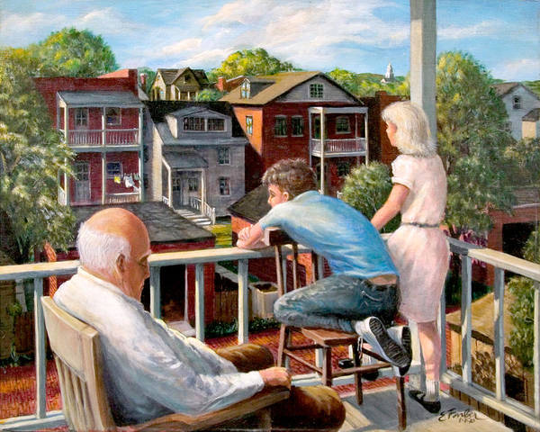 Cityscapes Cityscenes Grandpa Backporch  Oldman  Backyards  Alley  Garages Oldneighborhood  Poster featuring the painting Grandpa's Back Porch by Edward Farber