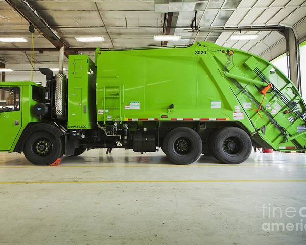 Bay Door Poster featuring the photograph Green Garbage Truck Maintenance by Don Mason