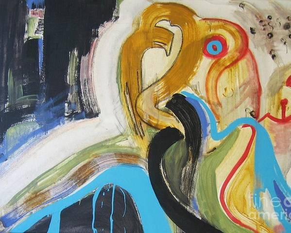 Abstract Art Paintings Poster featuring the painting Hard To Escape by Seon-Jeong Kim