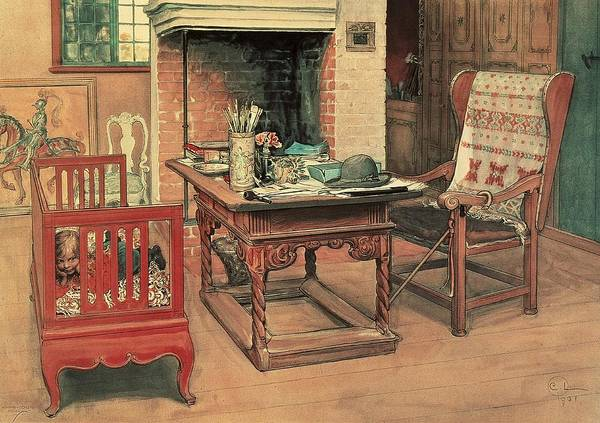 Oil Poster featuring the painting Hide And Seek by Carl Larsson