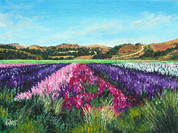 Highway 246 Poster featuring the painting Highway 246 Flowers 3 by Angie Hamlin