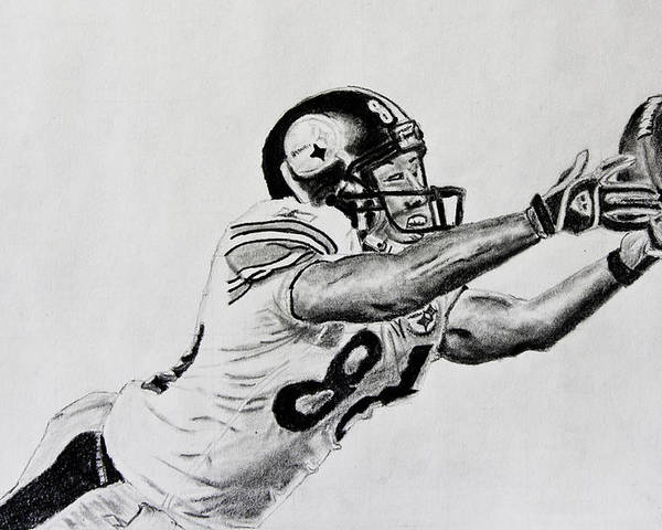 Drawing Poster featuring the drawing Hines Ward Diving Catch by Bryant Luchs