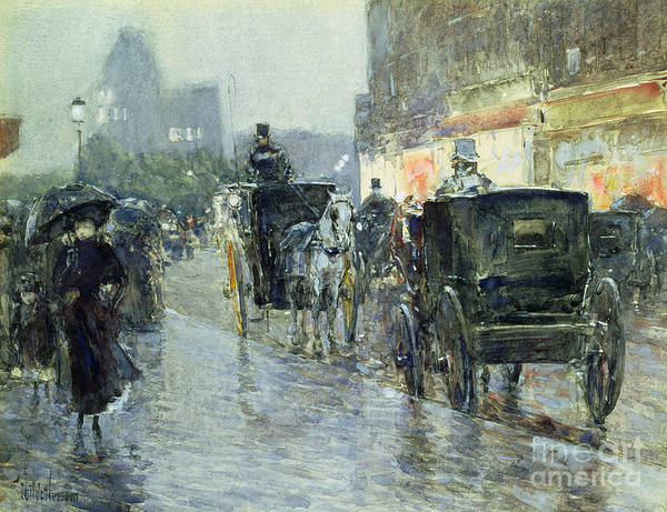 Horse Drawn Cabs At Evening Poster featuring the painting Horse Drawn Cabs At Evening In New York by Childe Hassam
