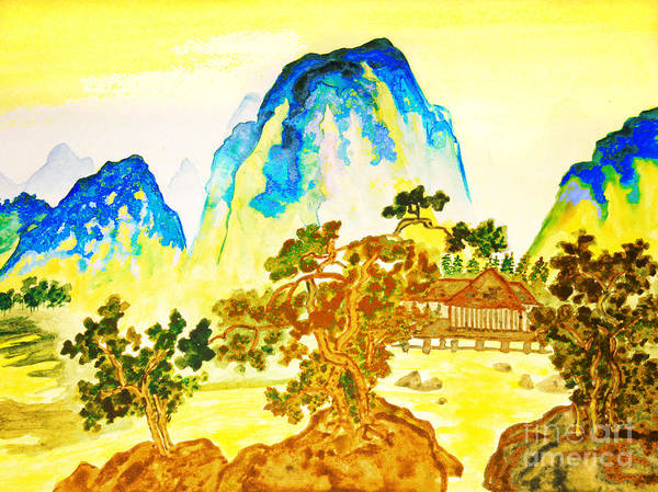 Picture Poster featuring the painting House In Mountains by Irina Afonskaya