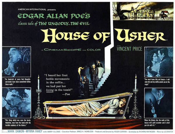1960 Movies Poster featuring the photograph House Of Usher, Aka The Fall Of The by Everett