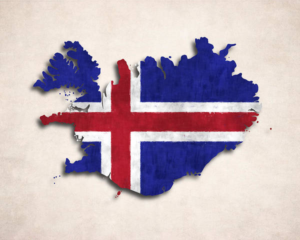 Iceland Poster featuring the digital art Iceland Map Art With Flag Design by World Art Prints And Designs
