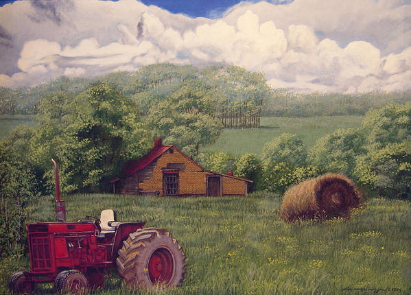 Landscape Poster featuring the painting Idle In Godfrey Georgia by Peter Muzyka