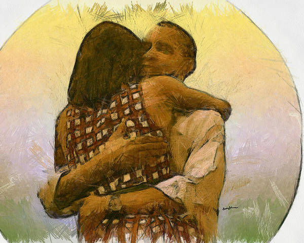 Portrait Poster featuring the digital art In Love by Anthony Caruso