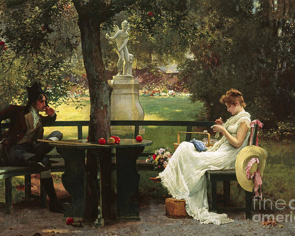 In Love (oil On Canvas) By In Love (oil On Canvas) By Marcus Stone (1840-1921) Poster featuring the painting In Love by Marcus Stone