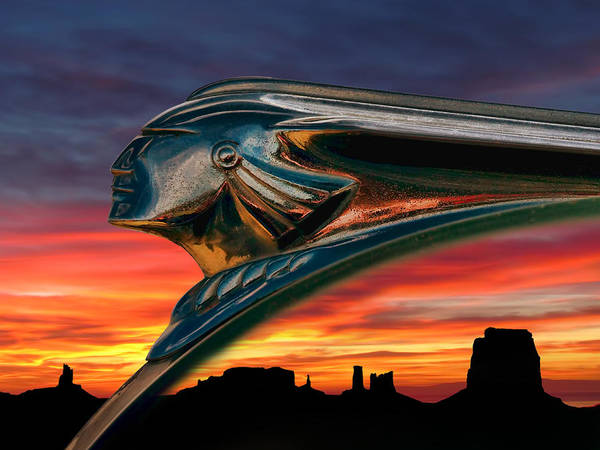 hood Orament Indian Mascot Pontiac Chrome monument Valley Sunset Landscape Dramatic Silhouette Fire Chief Automotive Auto Car Ornament Orange Mesa Canyon Poster featuring the digital art Indian Rainbow by Douglas Pittman