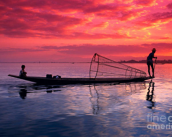 73-csm0075 Poster featuring the photograph Inle Lake Fisherman by Gloria & Richard Maschmeyer - Printscapes