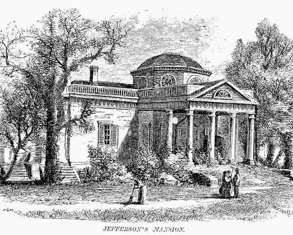 19th Century Poster featuring the photograph Jefferson: Monticello by Granger