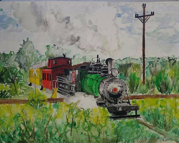 Poster featuring the painting Kettle Moraine Train by Jan Marie
