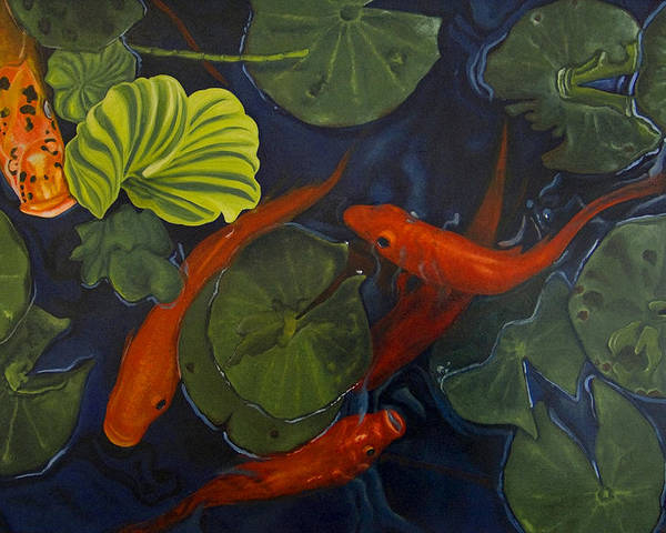 Painting Poster featuring the painting Koi Ballet by Peter Muzyka