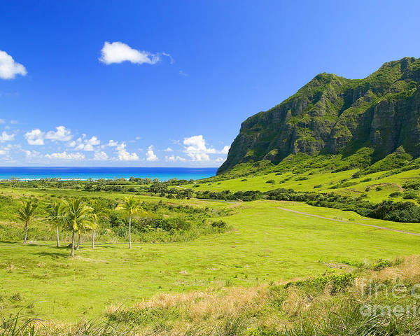 Blue Poster featuring the photograph Kualoa Ranch Mountains by Dana Edmunds - Printscapes