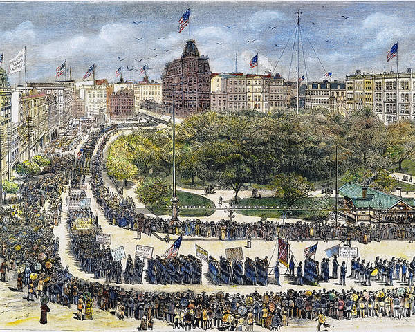 1882 Poster featuring the photograph Labor Day Parade, 1882 by Granger