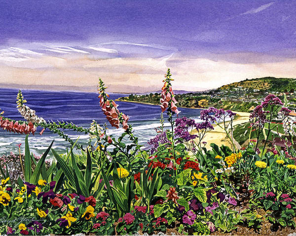 Flowers Poster featuring the painting Laguna Niguel Garden by David Lloyd Glover