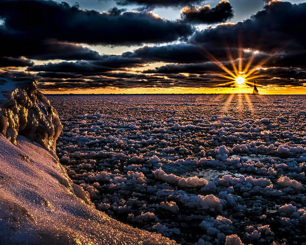 Ice Poster featuring the photograph Lake Mi Sunset 8 by Tim Bonnette