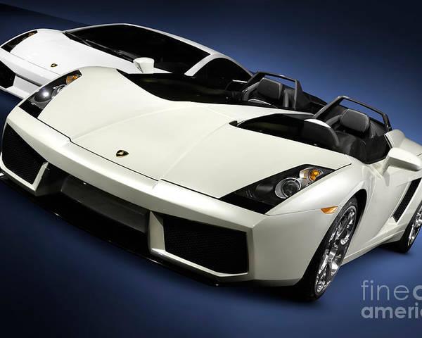 Lamborghini Poster featuring the photograph Lamborghini Super Cars by Maxim Images Prints