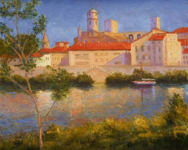 Landscape Alla Prima Arles France Poster featuring the painting Landscape At Arles France by David Olander