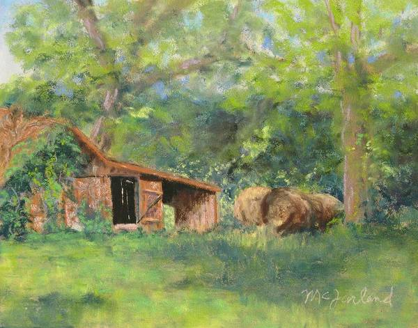 Barn Poster featuring the pastel Leftover Hay by Lorraine McFarland