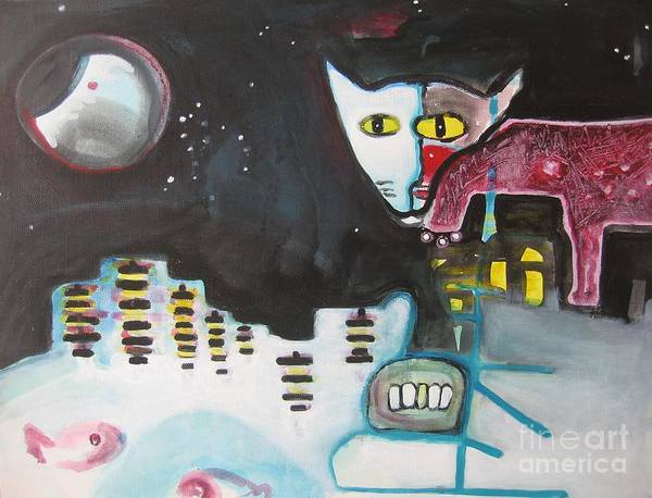 Cat Paintings Poster featuring the painting Let Me Out3 by Seon-Jeong Kim