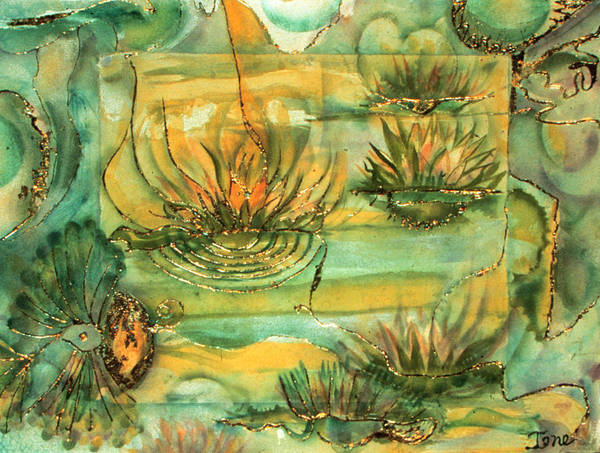 Lily Pond  Poster featuring the painting Lily Pond by Ione Citrin