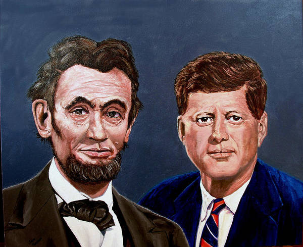 Lincoln Poster featuring the painting Lincoln And Kennedy by Stan Hamilton