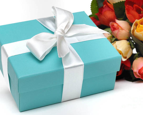 Anniversary Poster featuring the photograph Little Blue Gift Box And Flowers by Amy Cicconi