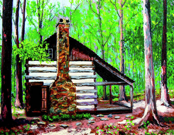 Log Cabin Poster featuring the painting Log Cabin V by Stan Hamilton
