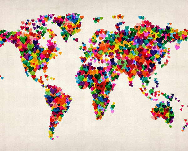 World Map Poster featuring the digital art Love Hearts Map Of The World Map by Michael Tompsett