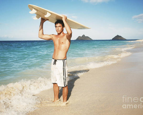Active Poster featuring the photograph Man At The Beach With Surfboard by Brandon Tabiolo - Printscapes