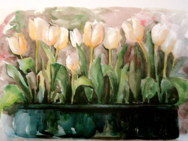 Tulips Poster featuring the painting Marty's Tulips by Lisa Schorr
