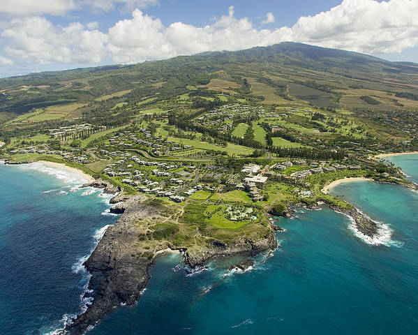 Above Poster featuring the photograph Maui Aerial Of Kapalua by Ron Dahlquist - Printscapes