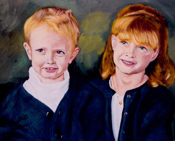 Double Child Portrait Poster featuring the painting Megan and Justin by Stan Hamilton