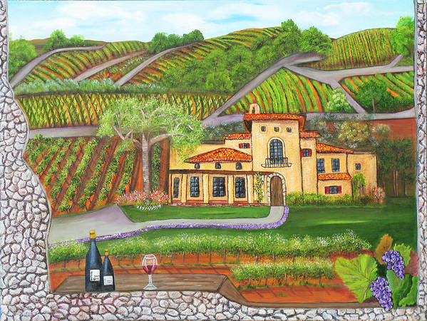 Winery Poster featuring the painting Melville Magic by Mikki Alhart
