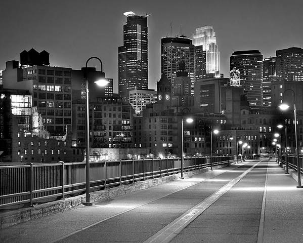 Minneapolis Skyline Poster featuring the photograph Minneapolis Skyline From Stone Arch Bridge by Jon Holiday